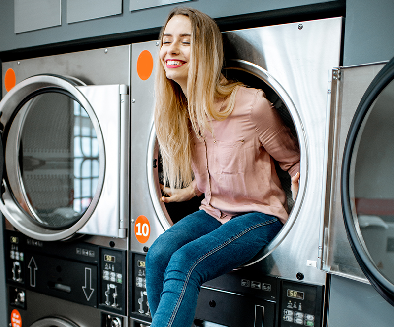laundromat startup, riding in a dryer